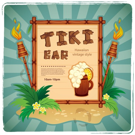 Vector Retro Tiki bar sign for your business 矢量图像