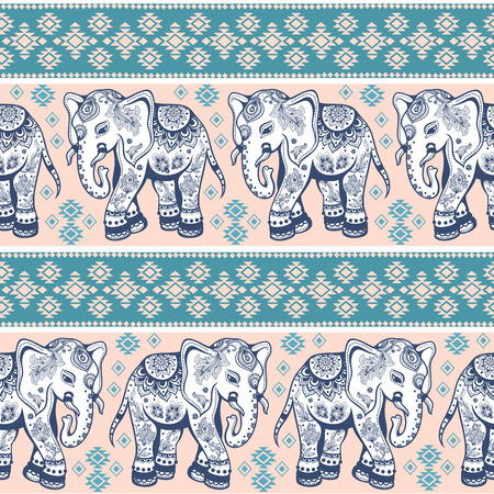 romantic: Ethnic vintage elephant seamless for you business