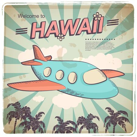 plane ticket: Vector Retro travel illustration with a plane and a vintage background