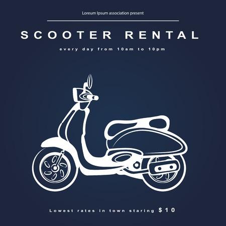 moto acuatica: Ilustración de la vendimia con un scooter retro para su negocio