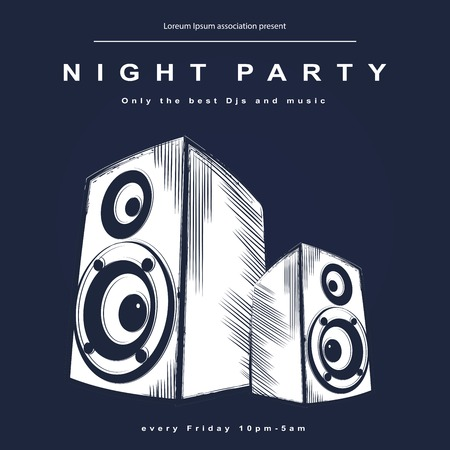 music dj: Vector party poster. Night club poster for your business.