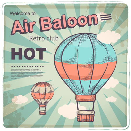 baloon: Hot air baloon retro poster for your business