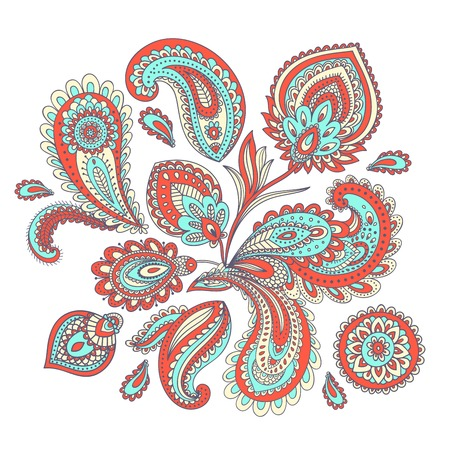 floral paisley: Beautiful Indian paisley ornament for your business