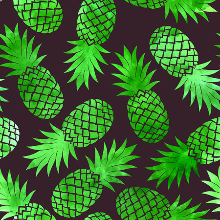 Vintage vector green watercolor pineapple seamless pattern