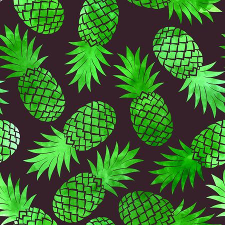Vintage vector green watercolor pineapple seamless pattern Stock fotó - 37442325