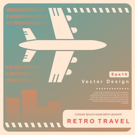 plane vector: Vector Retro travel illustration with a plane and a vintage background
