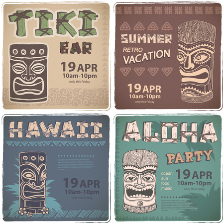 Set of Retro Hawaiian banners  for your business Çizim