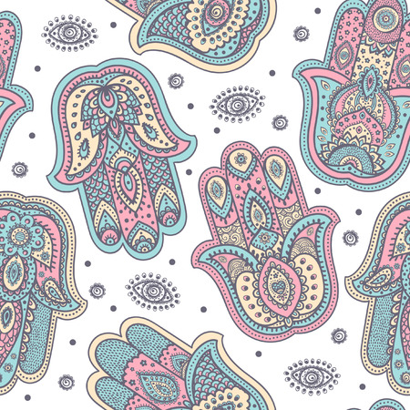 Vector Indian hand drawn hamsa symbol seamless pattern Stock Illustratie