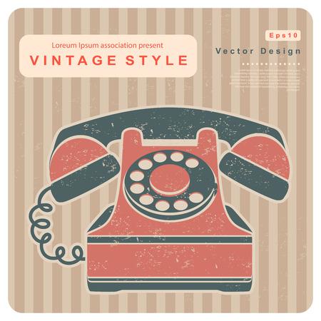 old cell phone: Retro phone illustration on a vintage background Illustration