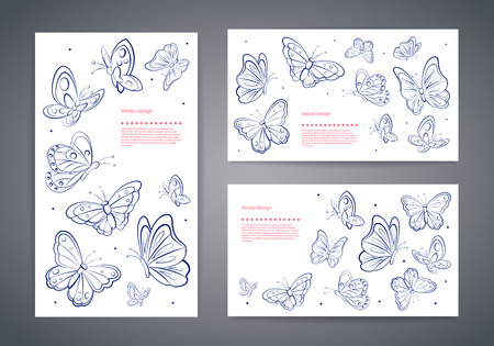 butterfly background: Set of beautiful vector butterfly business cards Illustration