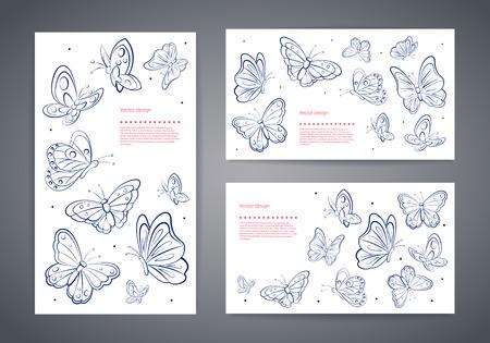 Set van mooie vector vlinder visitekaartjes Stock Illustratie