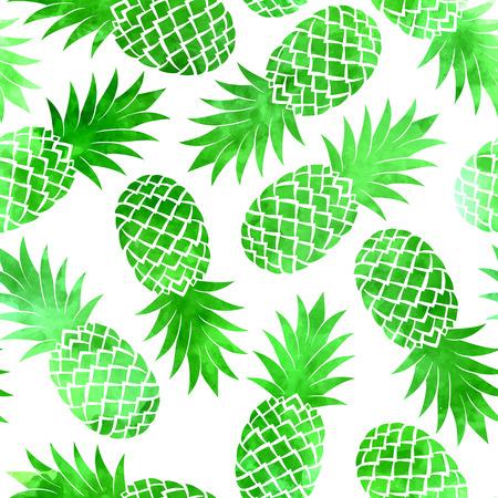 ビンテージ グリーン水彩画パイナップル、白い背景にシームレスなパターン