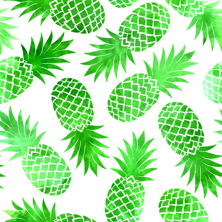 Vintage green watercolor pineapple seamless pattern on a white background