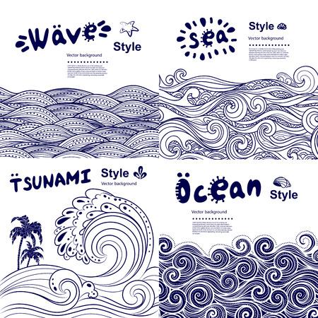 mar: Conjunto de la vendimia de banderas con olas étnicos se puede utilizar como una tarjeta de felicitación