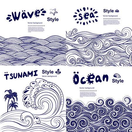 grunge background: Vintage set of banners with ethnic waves can be used as a greeting card