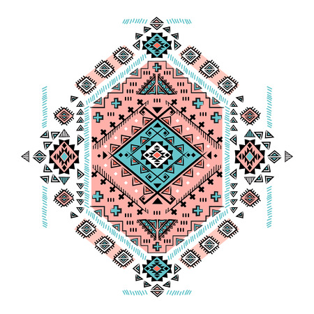 floral decoration: Beautiful Tribal Mexican vector isolated ethnic ornament
