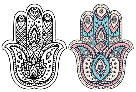 hamsa: Vector Indian hand drawn hamsa with ethnic ornaments