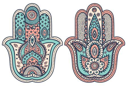 tribales: Vector mano india hamsa dibujado con adornos �tnicos Vectores