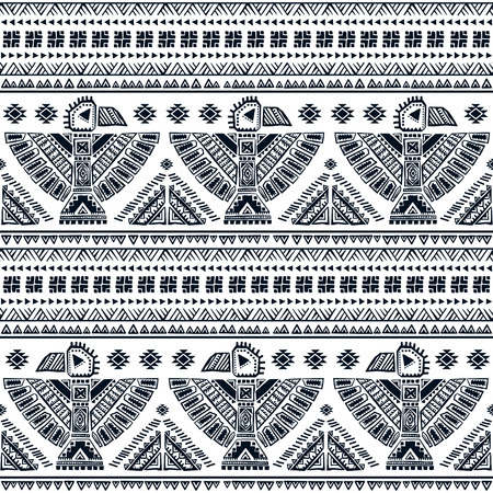 american indian aztec: Tribal vector seamless pattern with native American Indian symbols