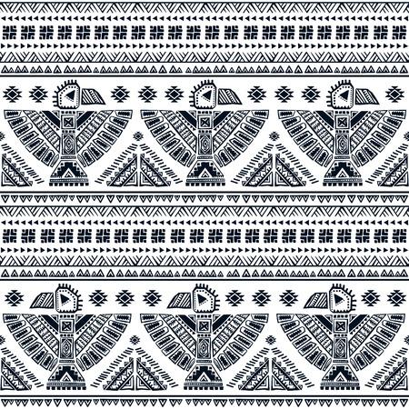 indios americanos: Tribal vector sin patrón con símbolos indios americanos nativos Vectores