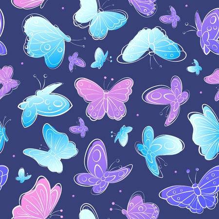 Vector Beautiful Watercolor Vintage butterfly seamless pattern Illustration