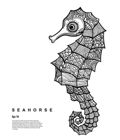 Grapchic Vector Tribal Seahorse illustration. Vector ornament