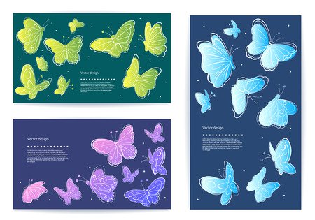 bunner: Set of beautiful vector butterfly business cards Illustration