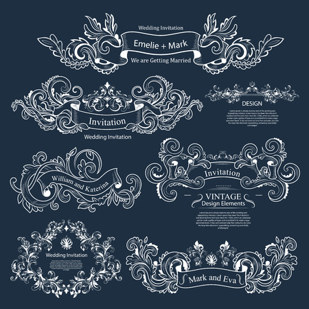 decoration: Set of Vintage Victorian ornaments. Wedding design. Invitation