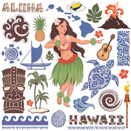 Vector Vintage conjunto de iconos y símbolos de Hawai