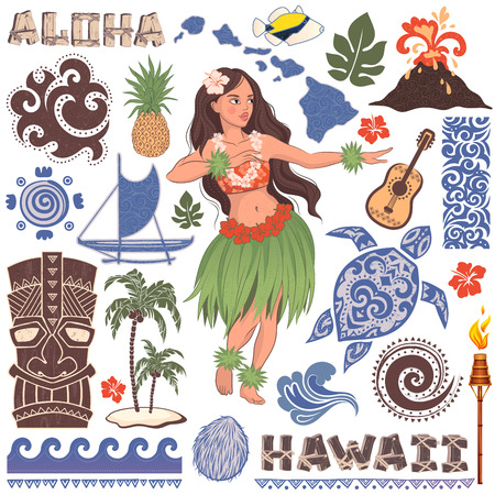 hawaii flower: Vector Vintage set of Hawaiian icons and symbols