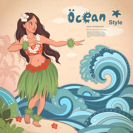 falda: Vector retro de estilo hawaiano hermosa chica de hula