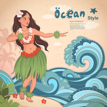 hawaii flower: Vector Retro style Hawaiian beautiful hula girl