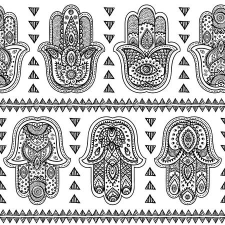 벡터 인도 손으로 그린 hamsa 기호 원활한 패턴 일러스트