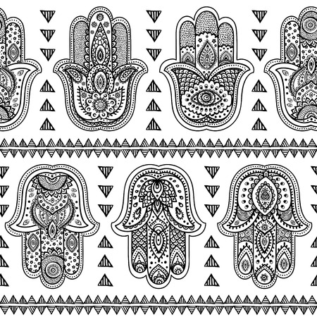 Vector Indian hand drawn hamsa symbol seamless pattern Çizim