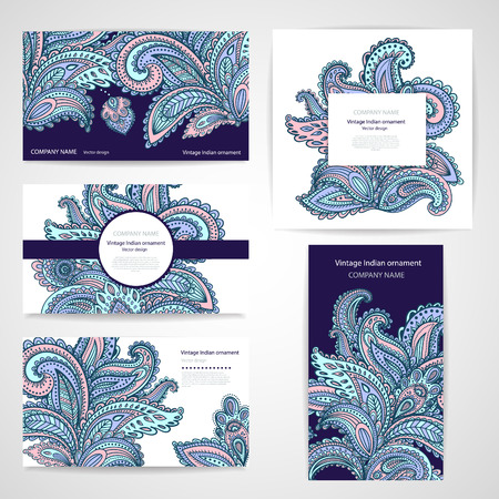business abstract: Set of banners with floral Indian ornaments can be used as a business cards