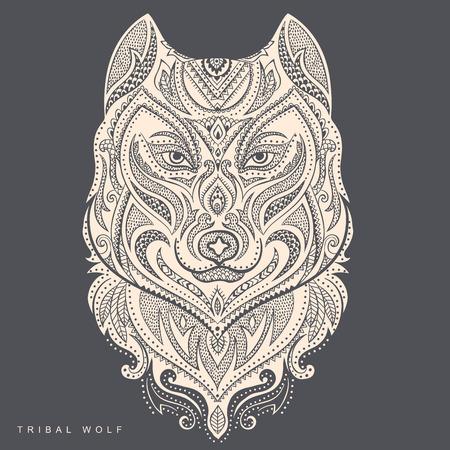 Vector tribal stijl wolf tottem tattoo met ornamenten Stock Illustratie