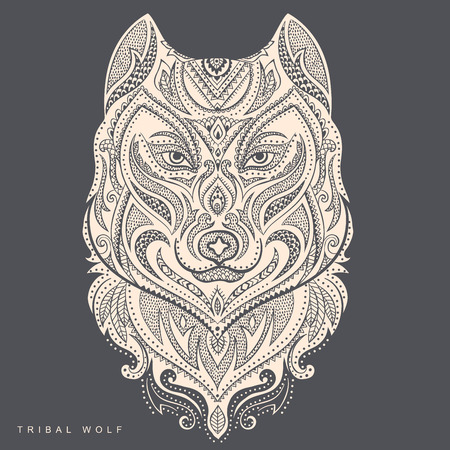 graphic illustration: Vector tribal style wolf tottem tattoo with ornaments