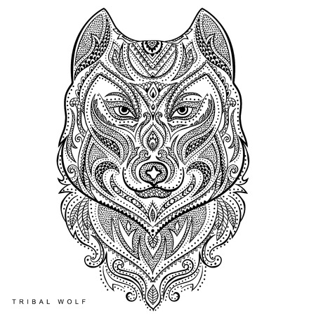 cartoon eyes: Vector tribal style wolf tottem tattoo with ornaments