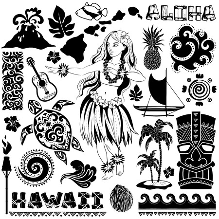 hawaiana: Vector Vintage conjunto de iconos y símbolos de Hawai Vectores