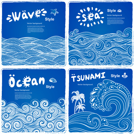 Vintage set of banners with ethnic waves can be used as a greeting card