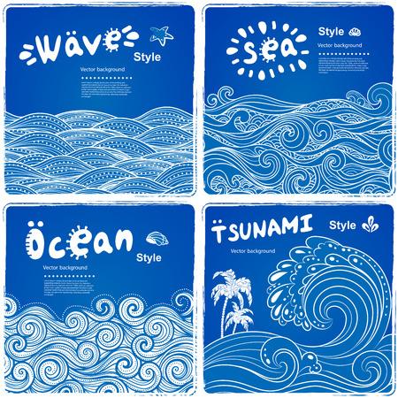 民族の波とバナーのビンテージ セットは、グリーティング カードとしても使えます。  イラスト・ベクター素材