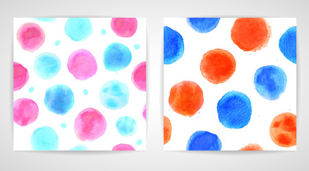 red pink: Set of handdrawn watercolor banners red, pink and blue