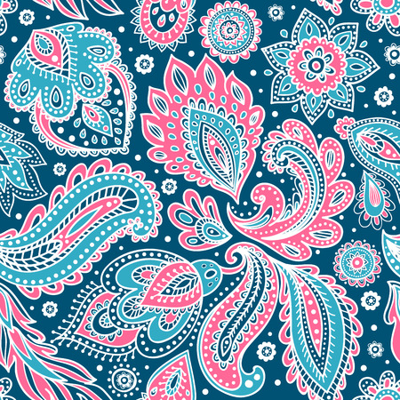 paisley background: Beautiful vector vintage floral leaf seamless pattern Illustration