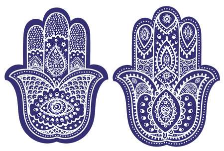 yoga meditation: Vector Indian hand drawn hamsa with ethnic ornaments