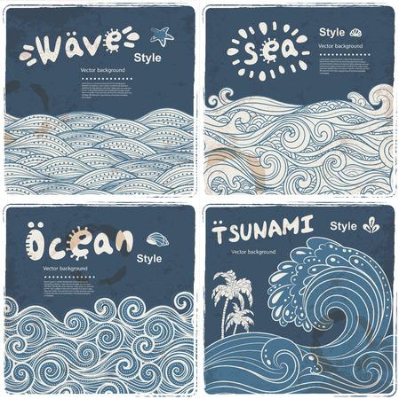 Conjunto de la vendimia de banderas con olas étnicos se puede utilizar como una tarjeta de felicitación
