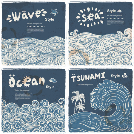 sea wave: Vintage set of banners with ethnic waves can be used as a greeting card