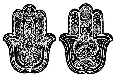 Vector Indian hand drawn hamsa with ethnic ornaments Vector