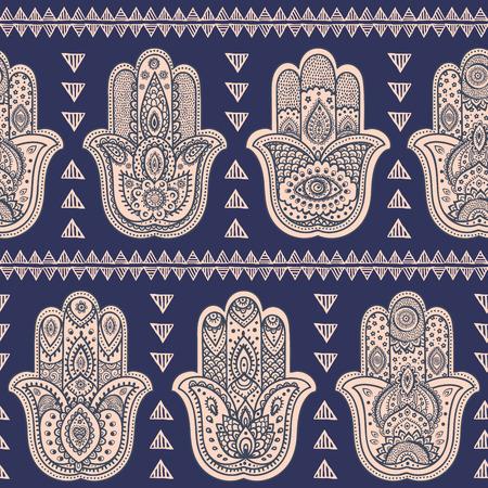 hamsa: Vector Indian hand drawn hamsa symbol seamless pattern Illustration