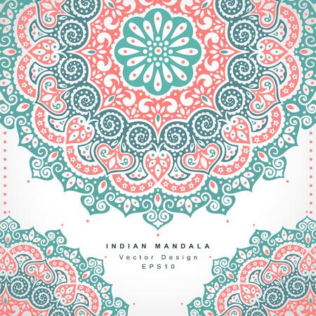 아름 다운 벡터 인도 꽃 장식입니다. 결혼식 초대장. 인사말 카드