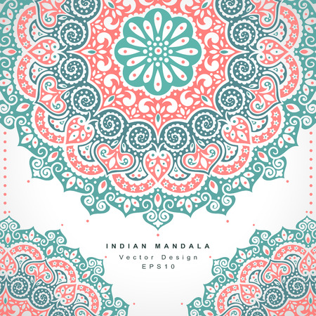 indian summer: Beautiful Vector Indian floral ornament. Wedding Invitation. Greeting card
